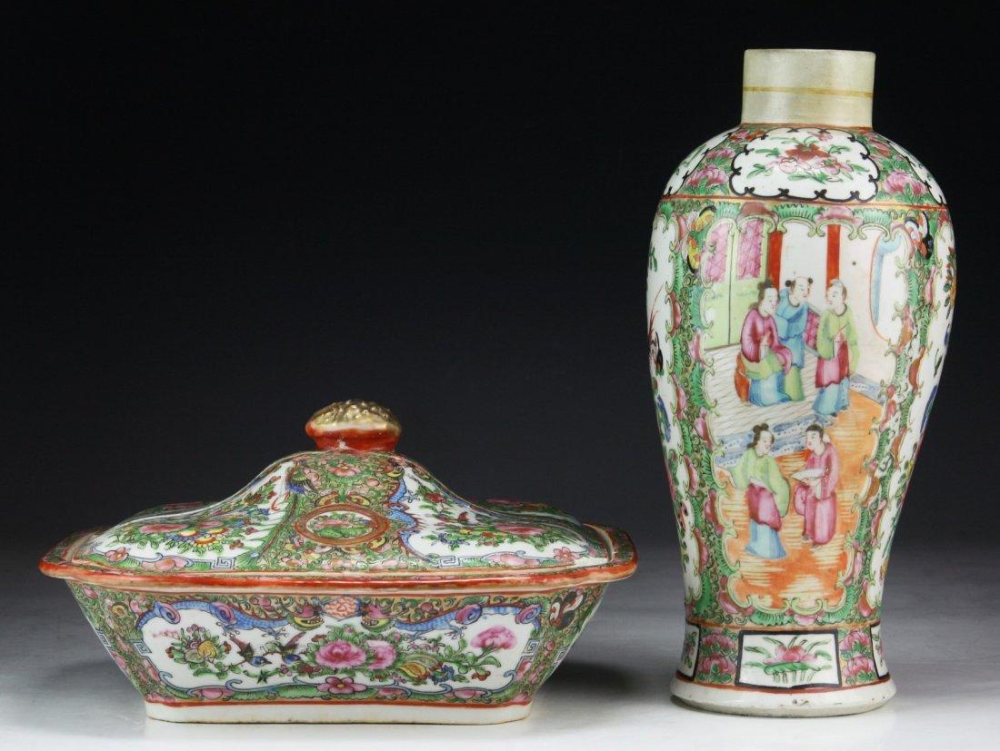 Two (2) Chinese Rose Medallion Porcelain Vase & Lidded