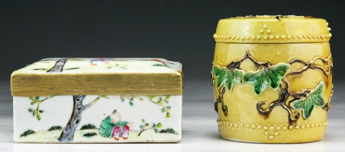 Two (2) Chinese Antique Porcelain Case & Lidded Jar