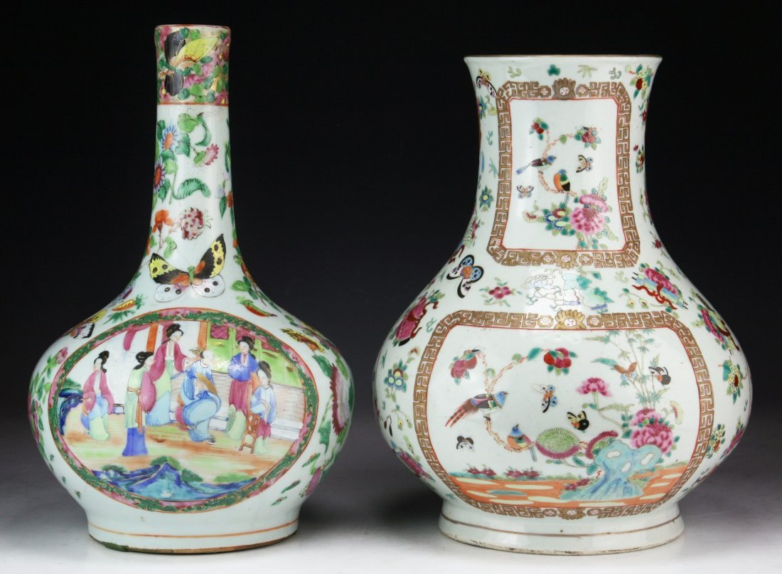 Two (2) Chinese Antique Famille Rose Porcelain Vases