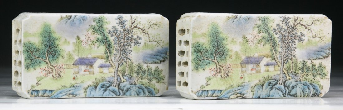 Pair Chinese Antique Famille Rose Porcelain Paper