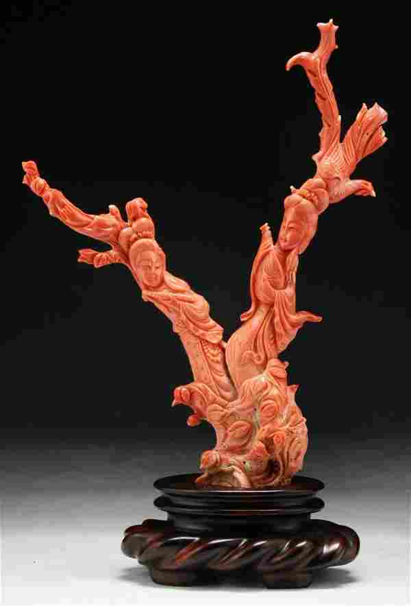 A Chinese Antique Carved Momo Red Coral Beauty Group