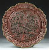 A Fine Chinese Antique Red Cinnabar Lacquer Plate