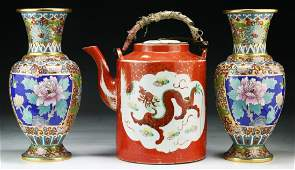 Three 3 Chinese Cloisonne Vases  Porcelain Teapot
