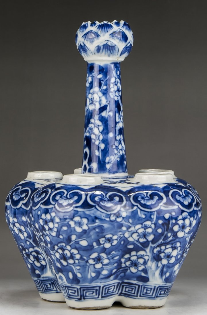 A Chinese Antique Blue & White Six (6) Hole Porcelain