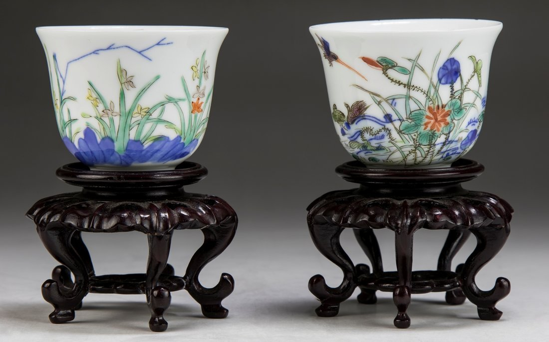Pair Chinese Famille Verte Porcelain Cups
