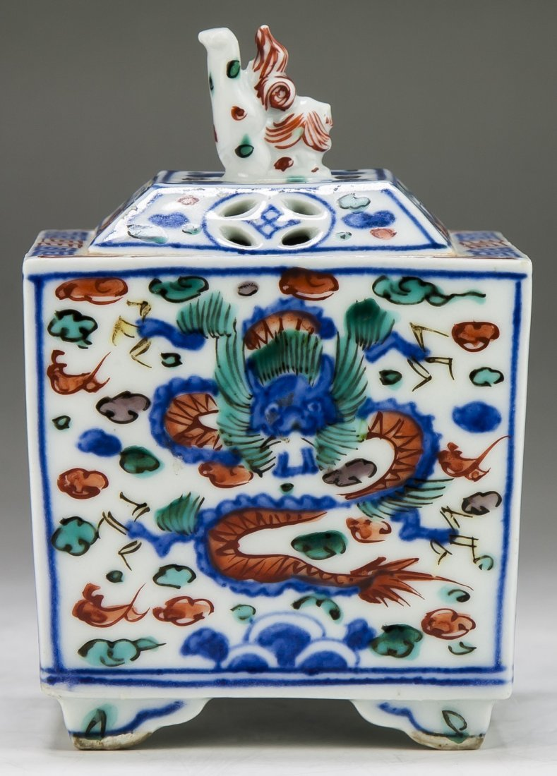 A Chinese Antique Famille Verte Porcelain Lidded Censer