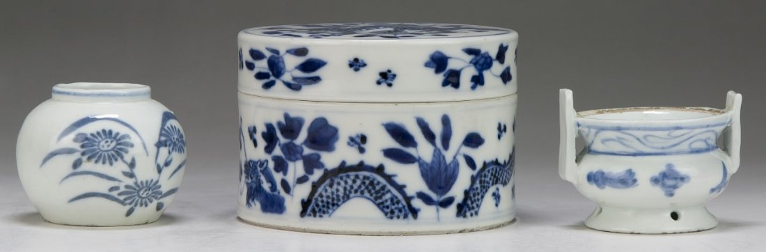 Three (3) Chinese Antique Blue & White Porcelain Items