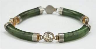 A Spinach Jade  K Gold Bracelet
