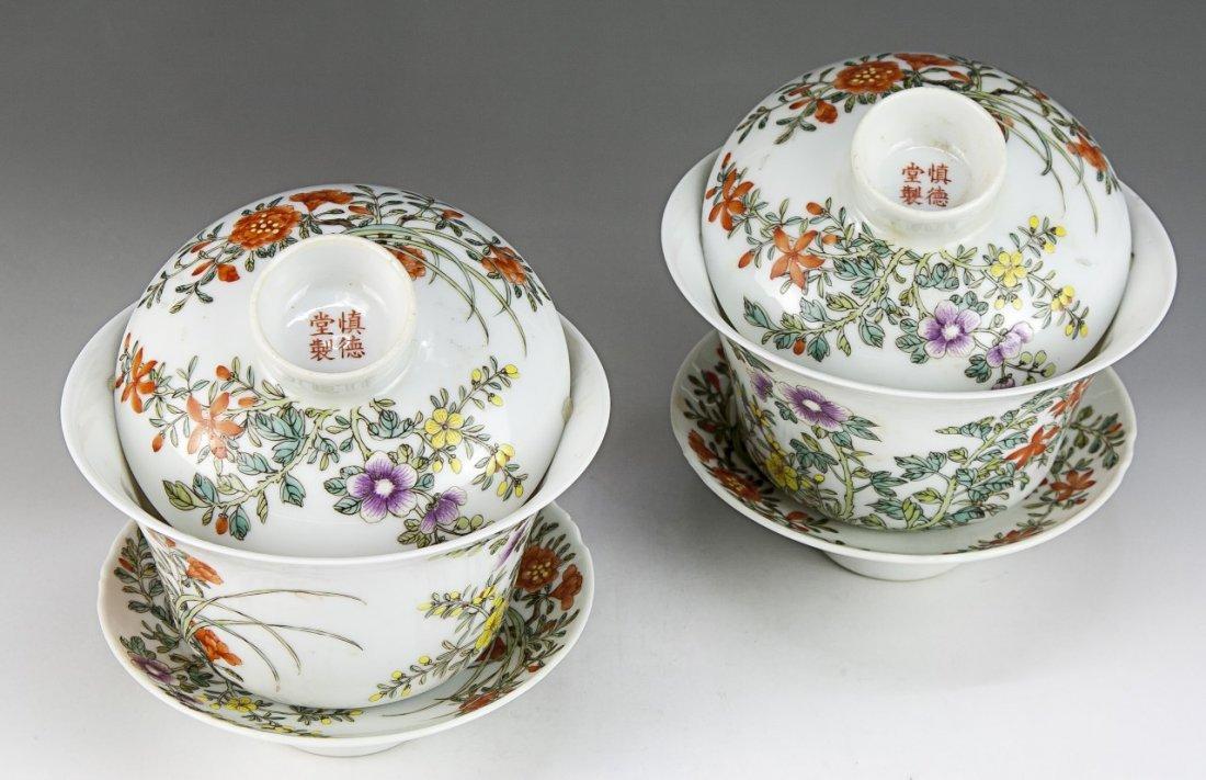 Pair Chinese Antique Famille Rose Lidded Porcelain Tea