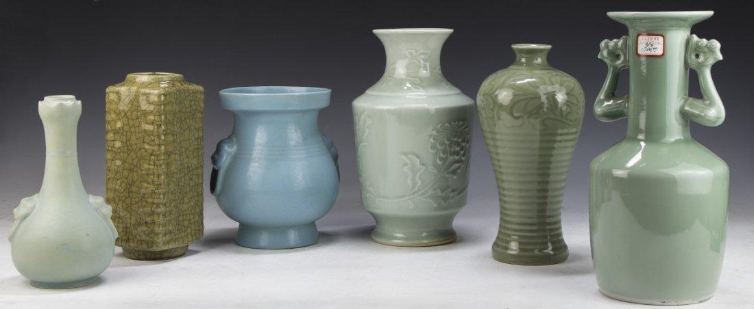 Six (6) Chinese Celadon Glazed Porcelain Vases
