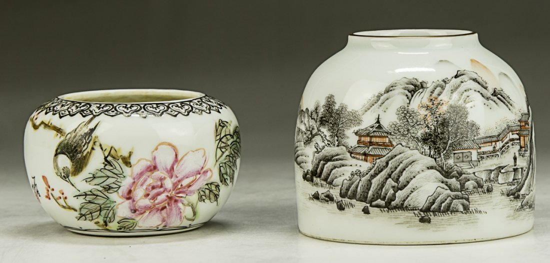 Two (2) Chinese Famille Rose Porcelain Washers