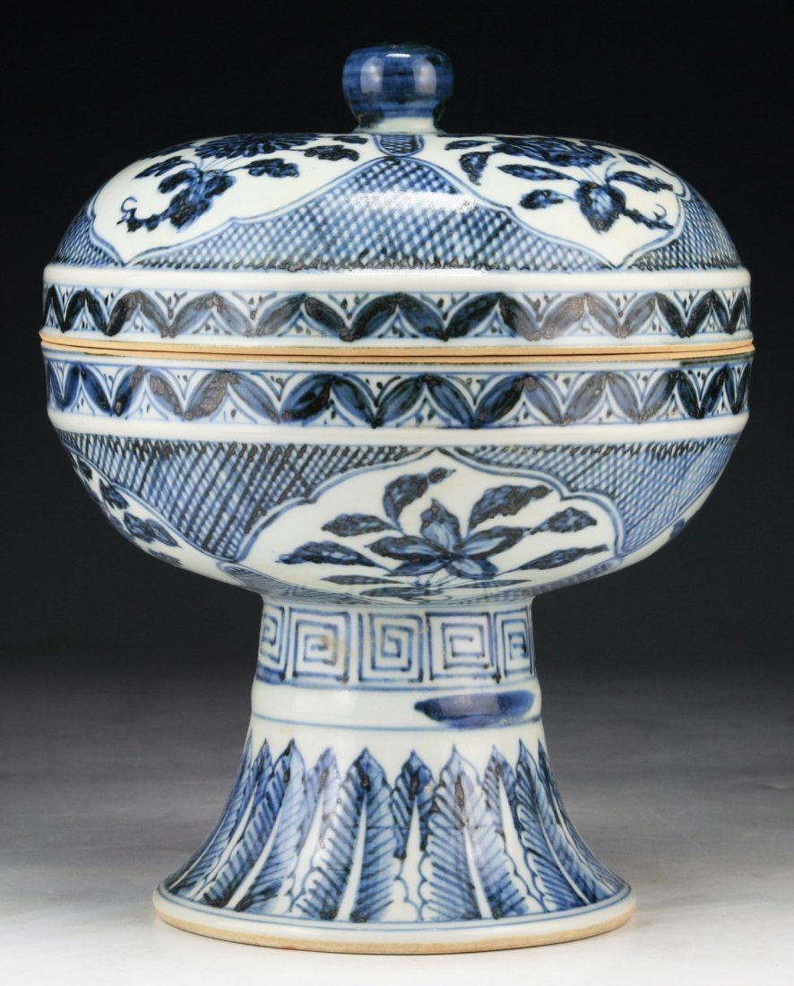 A Chinese Antique Blue & White Porcelain Stem Lidded