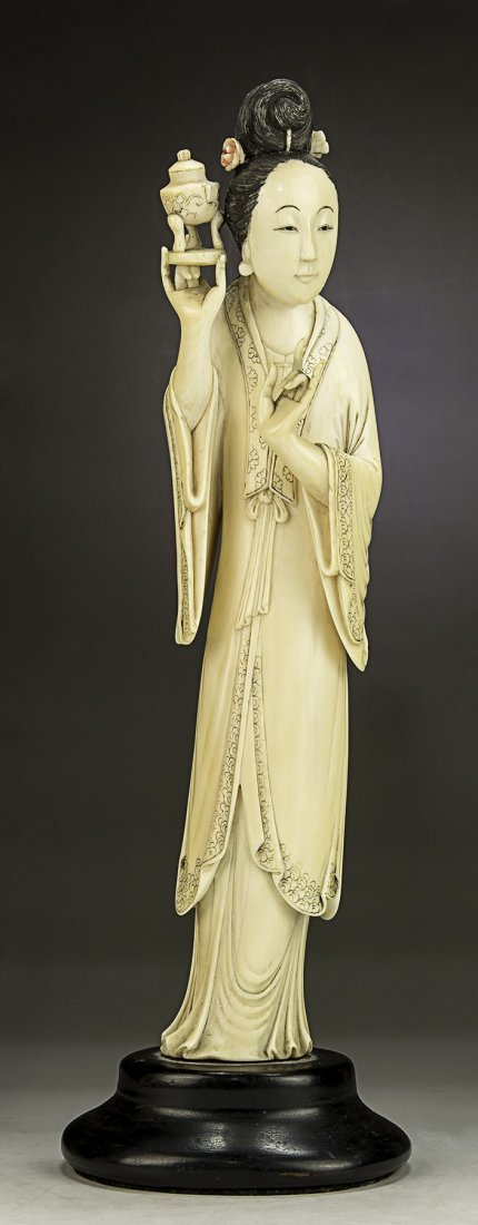 A Chinese Antique Ivory Carved Beauty