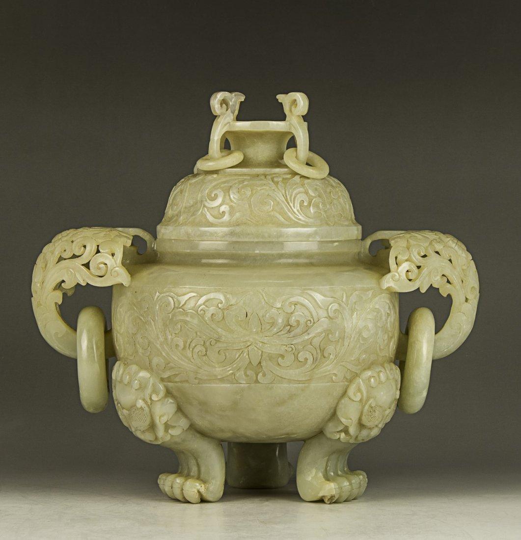 A Chinese Antique Celadon Nephrite Jade Lidded Censer