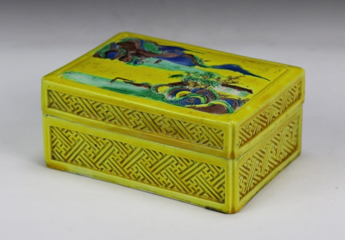 A Chinese Antique Yellow Glazed Porcelain Lidded Case