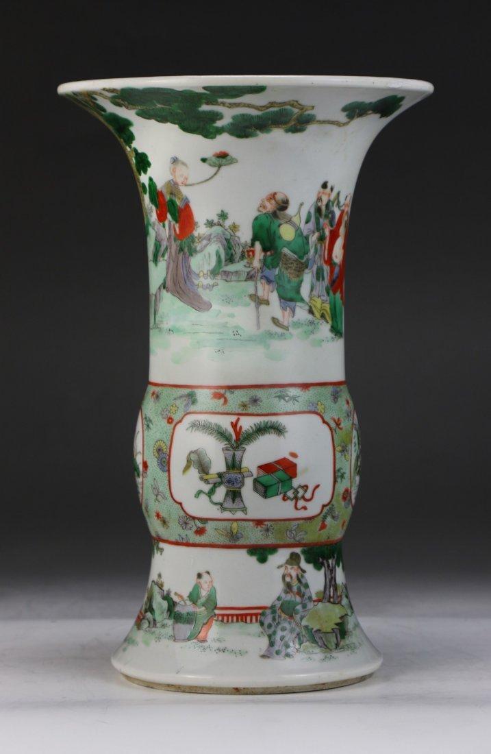 A Chinese Antique Famille Verte Porcelain Zun