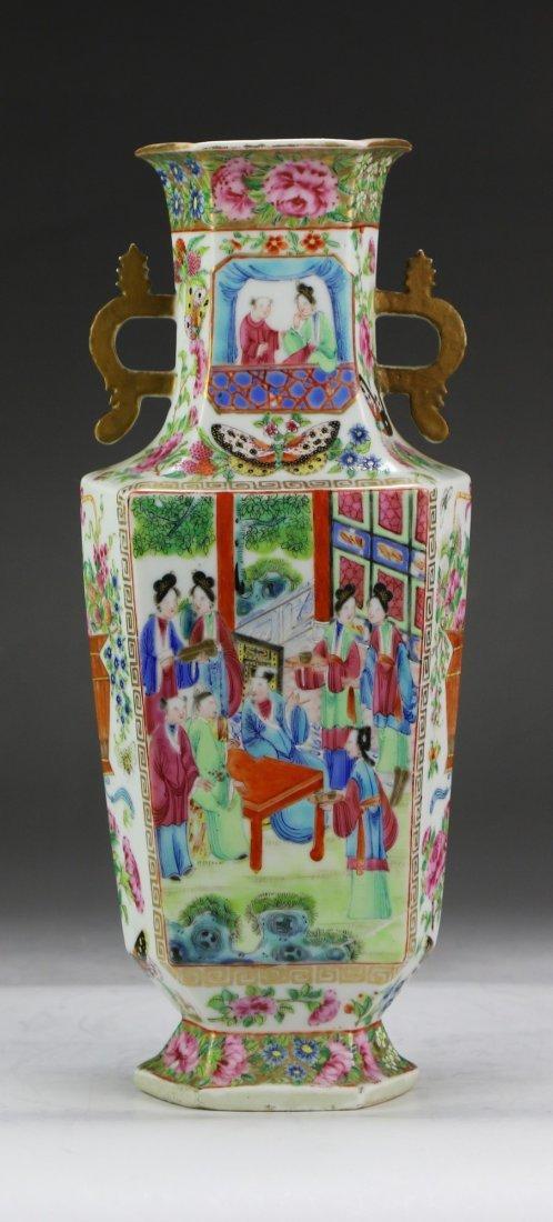 A Chinese Antique Hexagonal Rose Medallion Porcelain