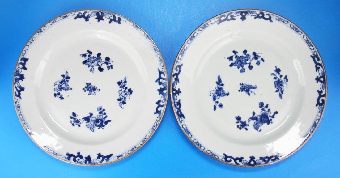 Pair Chinese Antique Blue & White Porcelain Plates