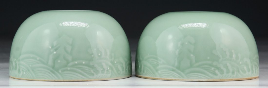 Pair Chinese Antique Celadon Glazed Porcelain Water