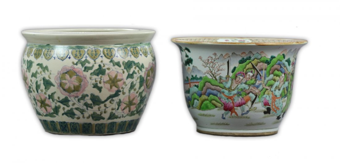 Two (2) Big Chinese Famille Rose Porcelain Jars