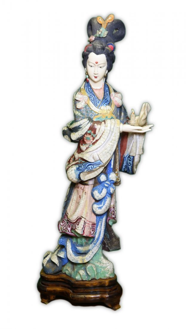 A Massive Chinese Antique Polychrome Ivory Carved