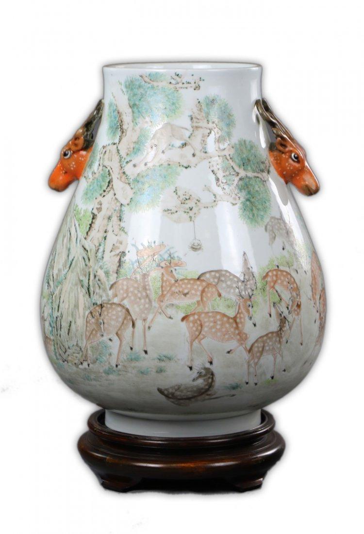 A Fine & Big Chinese Antique Famille Rose Porcelain ZUN