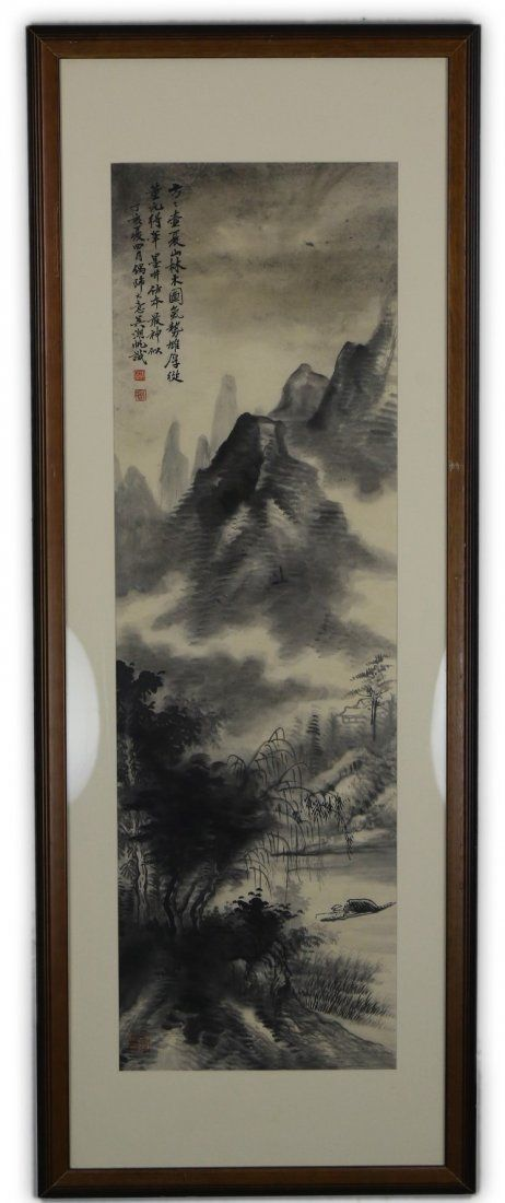 A Chinese Framed Paper Painting By Wu, Hufan