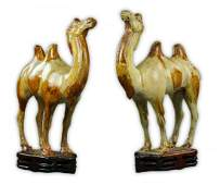 Pair Chinese Antique Tang-Style Sancai Porcelain Camels