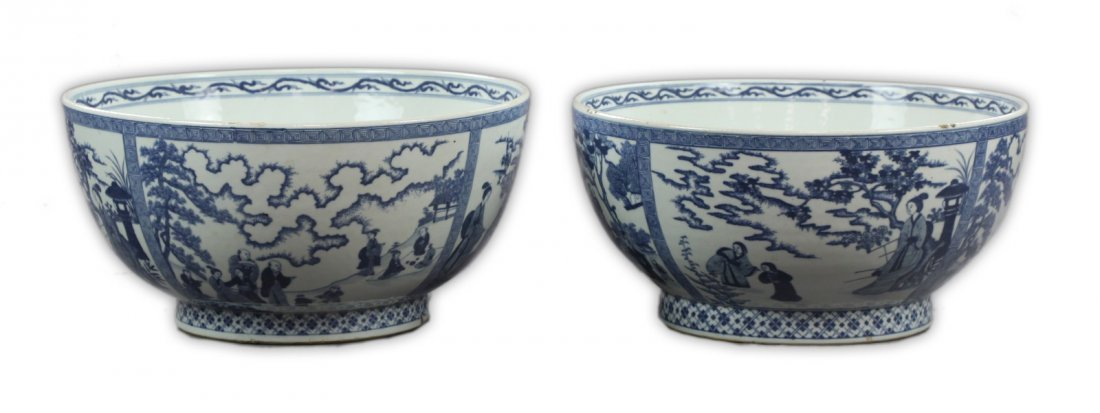 Pair Big Chinese Blue & White Porcelain Bowls