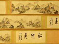 A Massive Chinese Paper Painting Hand Scroll By Xu, Xi