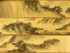 A Long Chinese Paper Painting Hand Scroll By Fu Baoshi