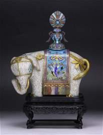 A RARE CLOISONNE ENAMEL ELEPHANT, 18TH/19TH CENTURY