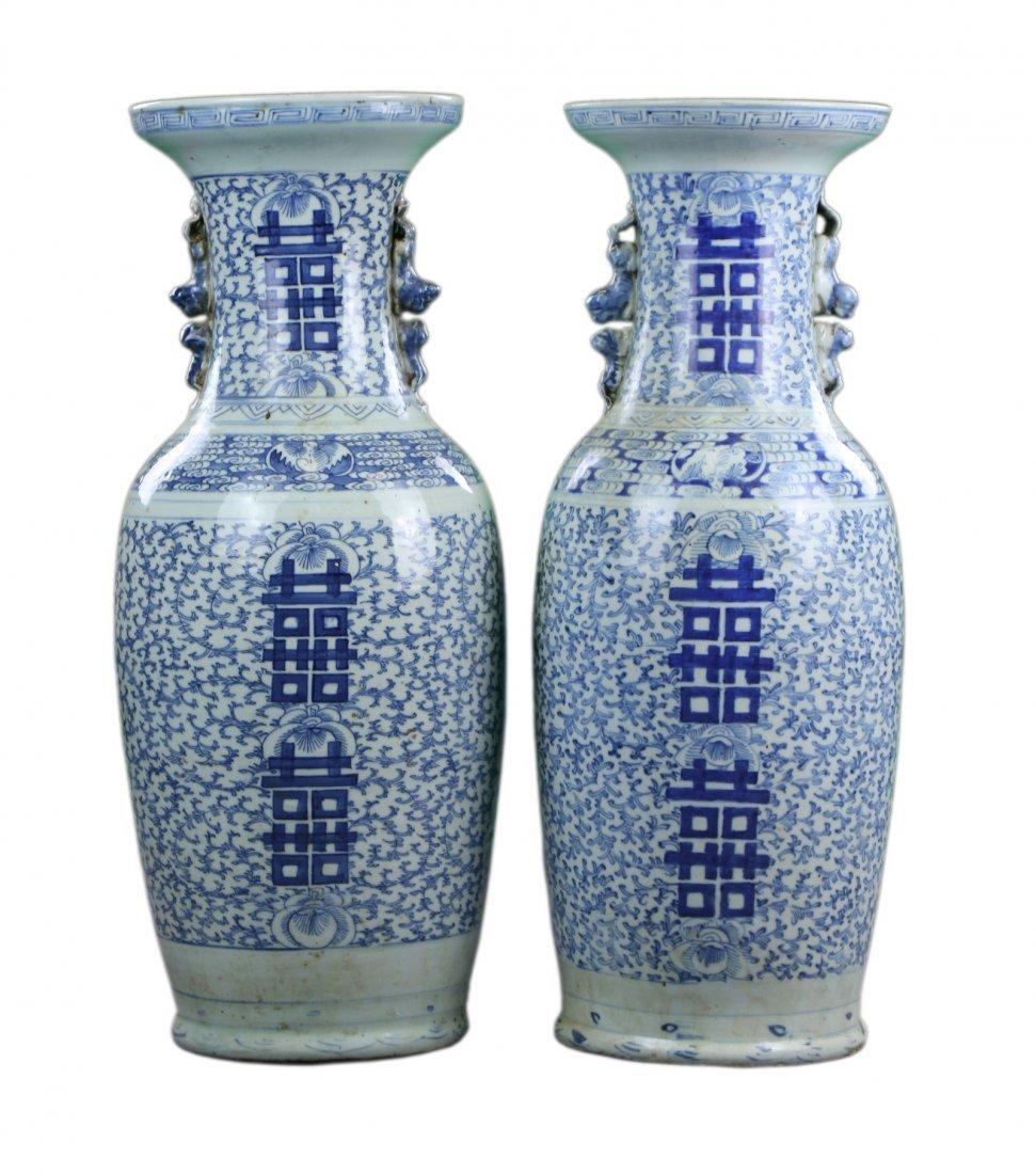 Pair Big Chinese Antique Blue & White Porcelain Vases