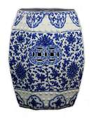 A Big Chinese Antique Blue & White Porcelain Stool