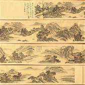 A Massive Chinese Paper Painting Hand Scroll By Lu, Hui
