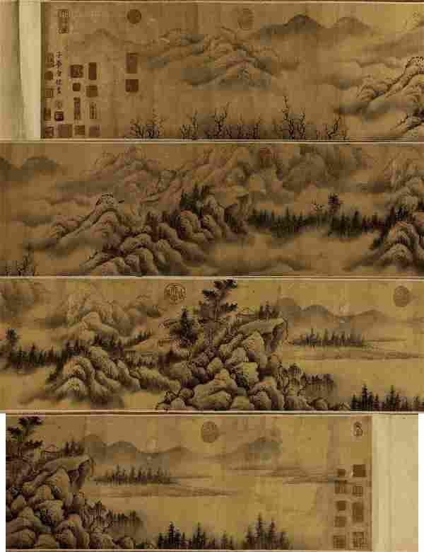 A Massive Chinese Paper Painting Hand Scroll