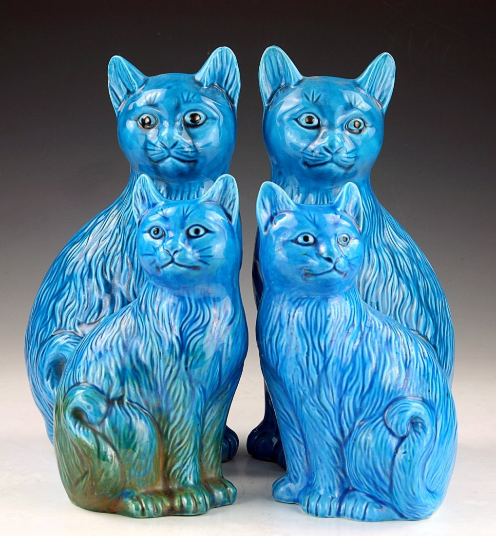Four (4) Chinese Blue Glazed Porcelain Cats