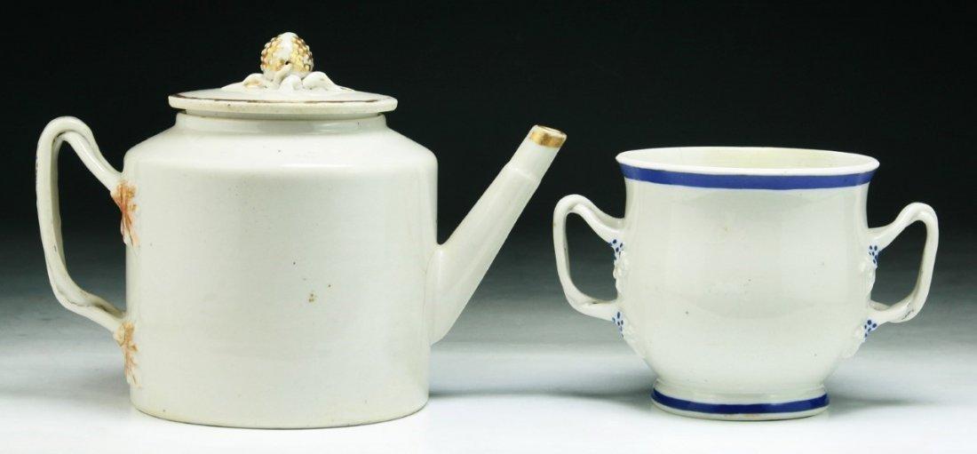 A Chinese Antique Export Gilt Porcelain Teapot & Cup