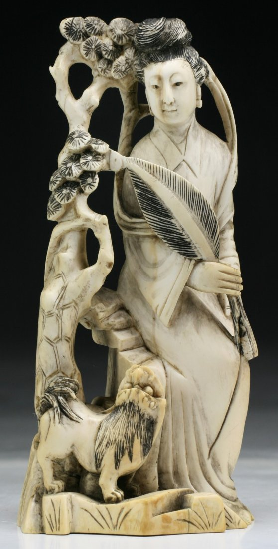 A Chinese Antique Carved Ivory Beauty