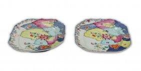 Pair Big Chinese Famille Rose Porcelain Platters
