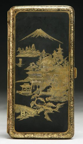 A Japanese Engraved Damascene Cigarette Case