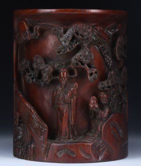 A Chinese Antique Wood Carved Brush Pot