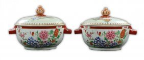 Pair Big Chinese Famille Rose Porcelain Lidded Tureens
