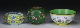 Three (3) Chinese Cloisonne Bowl, Case & Jar