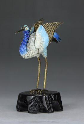 A Chinese Antique Cloisonne Brass Crane