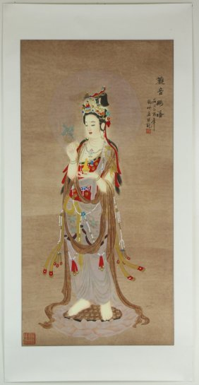 A Chinese Unmounted Paper Painting By Liu, Pei