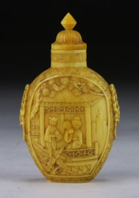 A Chinese Antique Ivory Snuff Bottle