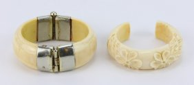 Two (2) Antique Ivory Carved Bangles