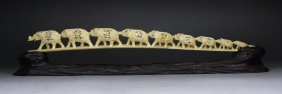 A Japanese Antique Shibayama Ivory Elephant Bridge