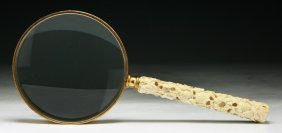 A Chinese Antique Gilt Magnifier With Ivory Handle